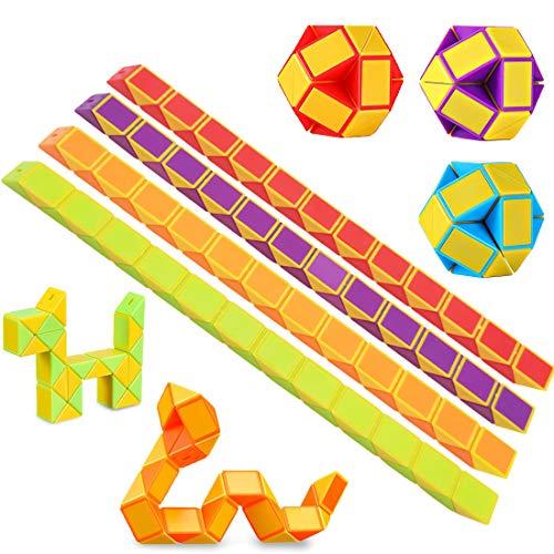 O-Kinee 12 Pack de 24 Bloques Magic Snake Cube, Mini Speed Cubes, Snake Twist Puzzle Toys para niños Llenadores de Bolsos para Fiestas, Favores de Fiesta, Color Aleatorio (12pcs-b)