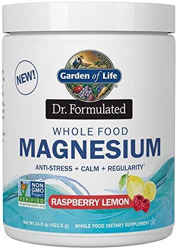 Garden of Life - Dr. Formulated Whole Food Magnesium Drink Powder Raspberry Lemon - 421.5g, 14.9 oz, 1 Unit