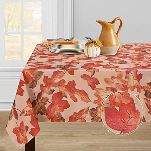 Thanksgiving Tablecloth, Autumn Maple Leaf Table Cloth, Fall Leaves Tablecloths, Waterproof Tablecloth Square for Dinner Party Decoration, 55 x 55 inch