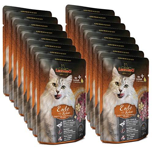 Leonardo Nassfutter für Katzen im Frischebeutel, Ente + Käse, 16x85g