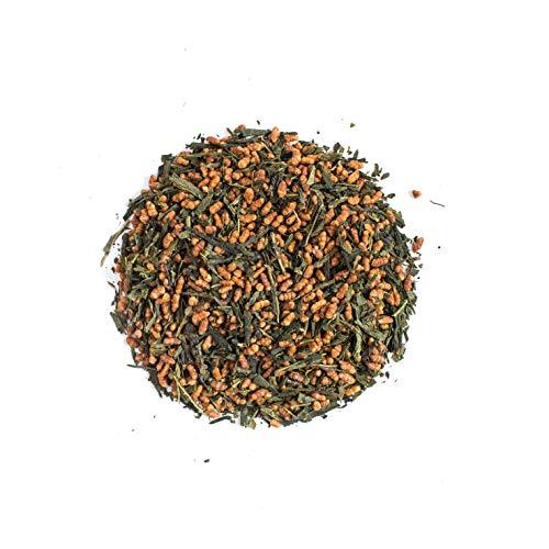 Organischer Moya Grün-Tee Genmaicha | 100 g | Loseblatttee mit geröstetem, gepufftem braunem Reis | Grüner Genmai Cha aus Japan | Vegetarisch und Vegan Freundlich | im wiederverschließbaren Beutel
