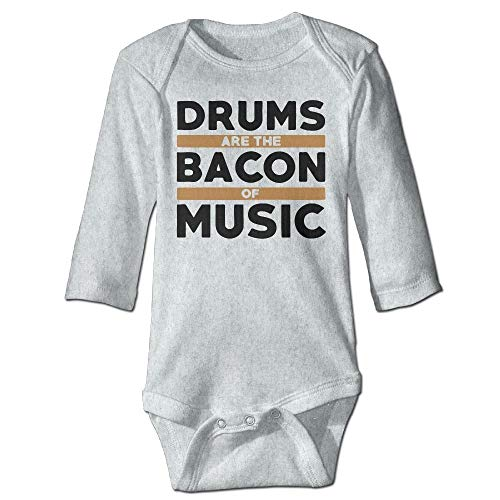 FULIYA Baby Crawler Baby Jersey Bodysuit Long Sleeve Bodysuit Baby,Unisex Infant Bodysuits Drums Are The Bacon of Music Baby Babysuit Long Sleeve Jumpsuit Sunsuit Outfit Ash 24M