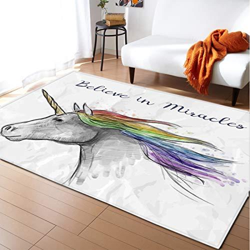 Alfombra De Pony De Dibujos Animados, Alfombra Antideslizante para La Habitación De Los Niños, Corazón De Niña Familiar, Tapetes Decorativos para Sala De Estar Y Dormitorio