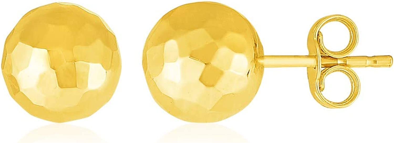 14k Yellow Gold Ball Earrings with Faceted Texture Weight 0.4 grams