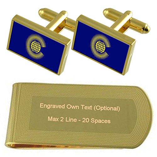 Select Gifts Commonwealth Flagge Gold-Manschettenknöpfe Geldscheinklammer Gravur Geschenkset