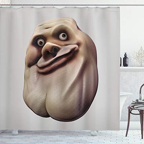 ABAKUHAUS Humor Duschvorhang, Ungeschicktes Meme Hässliches Gesicht, mit 12 Ringe Set Wasserdicht Stielvoll Modern Farbfest & Schimmel Resistent, 175x200 cm, Perle & Tan