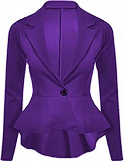 New Womens Plain Peplum Frill Ladies Long Sleeve Tailored Blazer