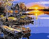 N\A Kits De Pintura por Números para Adultos - Kits De Regalo De Pintura Al Óleo DIY para Adultos Principiantes - Puesta De Sol, Junto Al Lago, Muelle, Barco