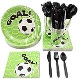 Juvale desechable de vajilla - Sirve 24 - Fiesta de fútbol - Cuchillos de plástico, cucharas, Tenedores, Platos de Papel, servilletas, Vasos