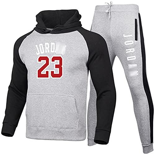 23 # Jordan - Sudadera con capucha para baloncesto (2 piezas, manga larga, sudadera con solapa y pantalones de chándal gris-XXL