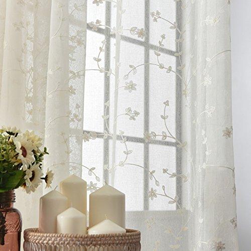 Coton et lin Rideau voilage, Éboulis de fenêtre Broderie Gaze Pour Chambre Salon Balcon Hublot de compartiment Tentures-blanc 300x230cm(118x91inch)