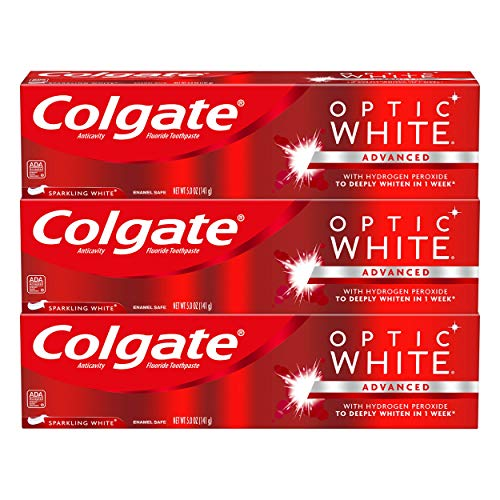 Price comparison product image Colgate Optic White Whitening Toothpaste,  Sparkling White - 5 ounce (3 Pack)