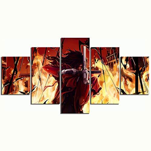 Yoplll Decoración Moderna Casa Dormitorio Pared 5 Piezas Impresión Hd Cartel De Lienzo Cuadros Pinturas Modulares Arte Animación Del Infierno De Alucard
