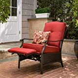 Better Homes & Gardens Outdoor Powder Coated Steel Frame Recliner in Color Red with 1 Decorative Pillow