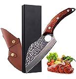 LA TIM'S Cuchillo de cocina para todos los propósitos, cuchillo universal forjado a mano profesional, cuchillo de deshuesar antiadherente, cuchillo de chef japonés, mango de madera con funda de cuero