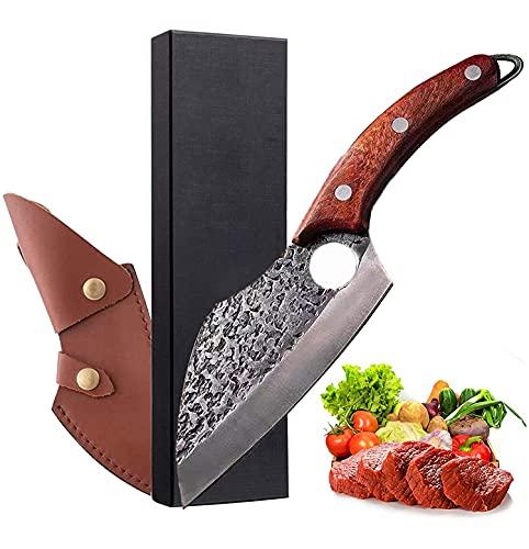 LA TIM'S Coltello da cucina per tutti gli scopi, professionale forgiato a mano, coltello per disossamento antiaderente, coltello da chef giapponese, manico in legno con guaina in pelle