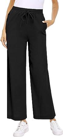 Akalnny Pantaloni Donna Estivi Casual Larga Elegante Pantalone Solido Colore Larghi Donna Leggeri Vita Alta con Elastico Lino Pantaloni