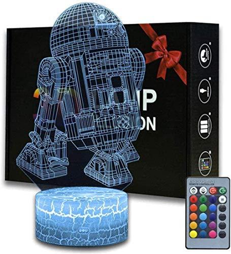 Lámpara 3D de Star Wars con ilusión 3D, lámpara de mesa táctil para dormitorio de niños, cargador USB, ideal como regalo para cumpleaños, Navidad, día de San Valentín