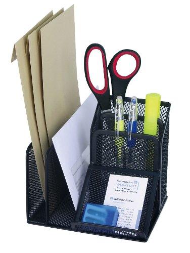 Wedo 65501 Stifteköcher Butler Office (4 Fächer und Schrägablage, Drahtmetall) schwarz