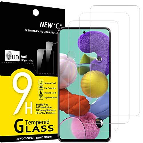 NEW'C 3 Pezzi, Vetro Temperato Compatibile con Samsung Galaxy A51, Pellicola Prottetiva Anti Graffio, Anti-Impronte, Durezza 9H, 0,33mm Ultra Trasparente, Ultra Resistente