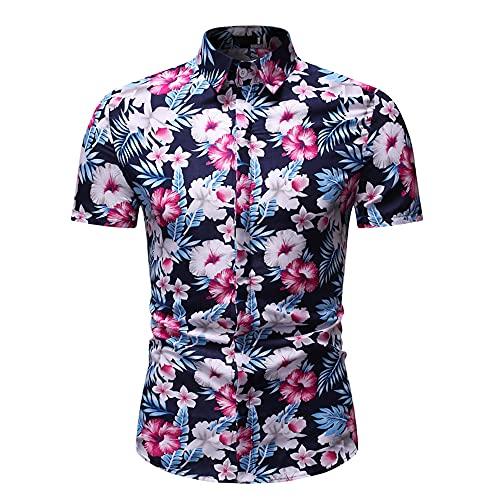 Camisa Playa Hombre Manga Corta Botones Verano Tapeta Estampado Vintage Hombre Camisa Ajustada Transpirable Cuello Kent Hombre Shirt Ocio Negocios Urbano Hombre Shirt Hawaiana C-Photo Color XXL