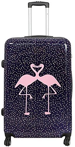 Valigetta da viaggio in policarbonato ABS, rigida, bagaglio a mano, nei modelli trolley o beauty case, XL L M S Multicolore Kissing Flamingos. xl