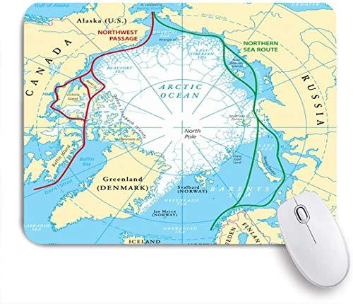 Dekoratives Gaming-Mauspad,Kreis Arktischer Ozean Routenkarte Eis Nordwesten Bildungsroute Wissenschaft Nordpassage Polarer Nordosten,Bürocomputer-Mausmatte mit rutschfester Gummibasis