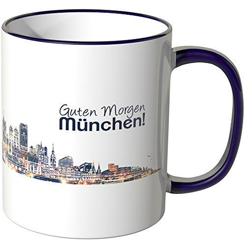 WANDKINGS® Tasse, Schriftzug Guten Morgen München! mit Skyline bei Nacht - LILA