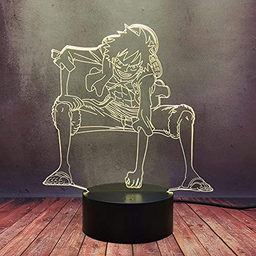 Creative Comic Boy Monkey · D · Luffy Decor Luz De Noche Lámpara De Escritorio Led 3D Japón Anime One Piece Lámpara De Mesa Enchufe Usb Touch Remote Bulb Mejor Regalo De Cumpleaños