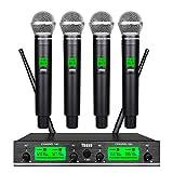 4 Channel Wireless Microphone System UHF 4 Handheld Mic Pro Audio Karaoke DJ Singing Meeting Party New Wedding Church Conference Speech 3 Years Free Warranty
