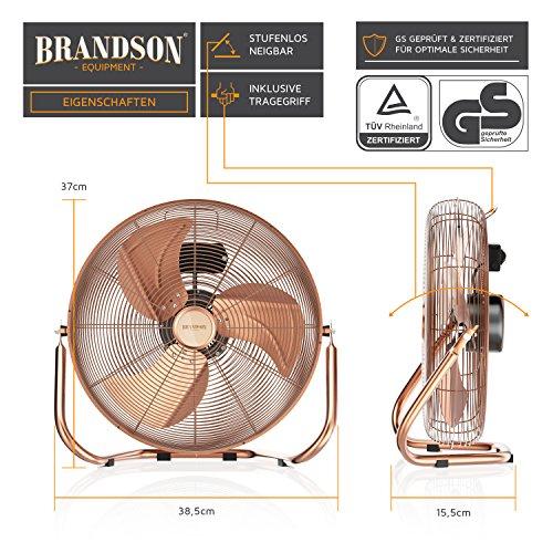 Brandson – Windmaschine Retro Stil | Ventilator in Kupfer | Standventilator 30cm | Tischventilator/Bodenventilator | hoher Luftdurchsatz | robuster Stand | stufenlos neigbarer Ventilatorkopf | Kupfer Bild 2*