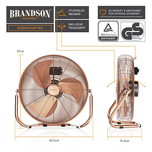 Brandson – Windmaschine Retro Stil | Ventilator in Kupfer | Standventilator 30cm | Tischventilator/Bodenventilator | hoher Luftdurchsatz | robuster Stand | stufenlos neigbarer Ventilatorkopf | Kupfer kaufen  Bild 1*