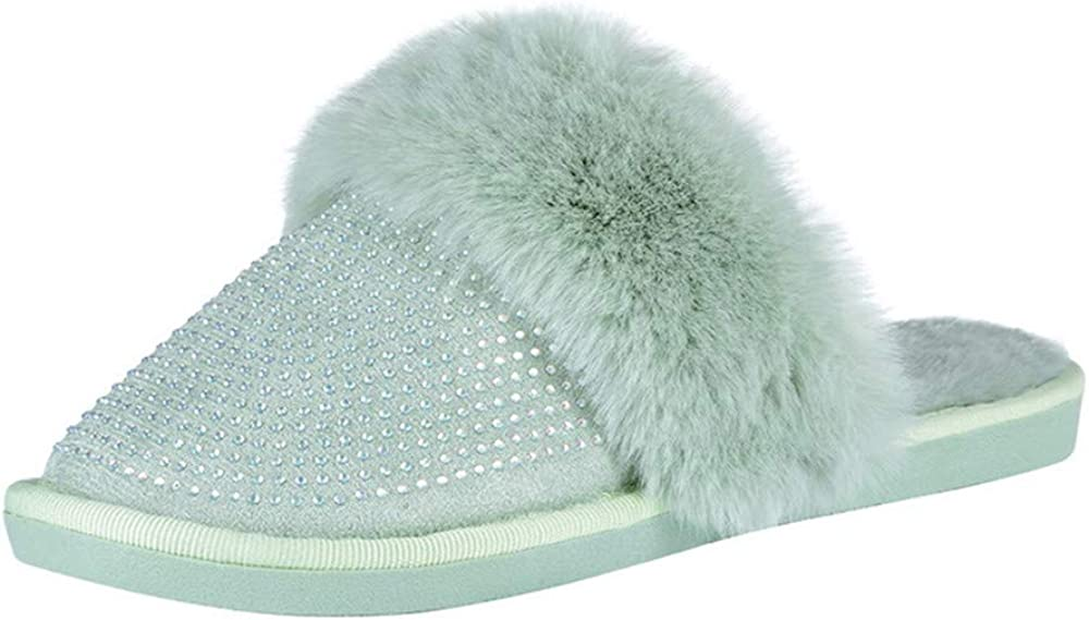 Pantoufles moelleuses pour femme semelles antid/érapantes pour lint/érieur et lext/érieur chaussures chaudes en strass