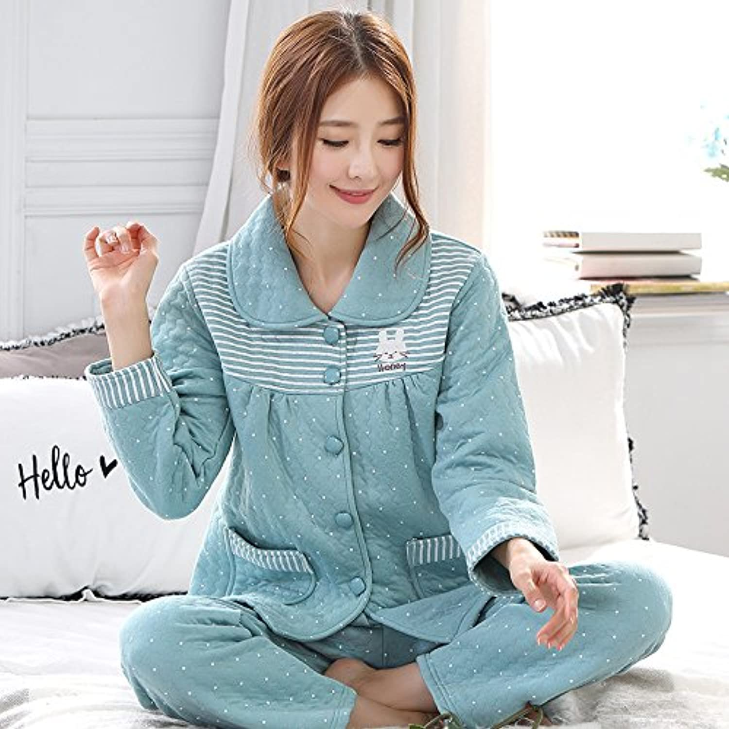 MHRITA Autumn And Winter, Cotton, Air Cotton, Layered Pajamas, Suits, Women'S Cotton, Long Sleeves, Thin Clip, Cotton Thickening, Home Wear, Winter,L Code,2211 Pure Cotton