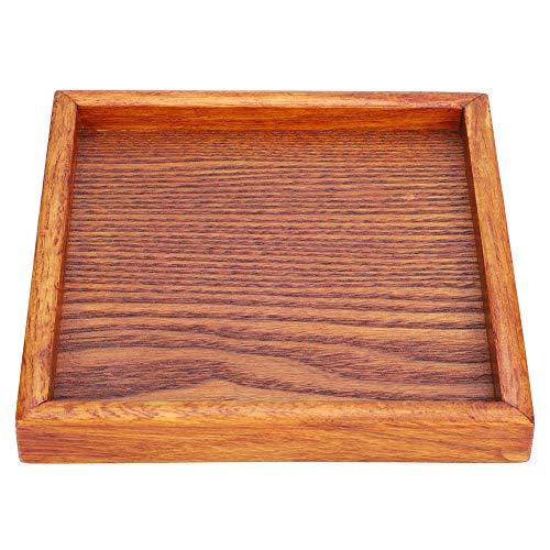 Vassoio in legno, piccolo, portatile, quadrato, in legno massello, per servire tè, caffè, snack, cena o come sottopiatto, Legno, 12,5 * 12,5 * 2 cm