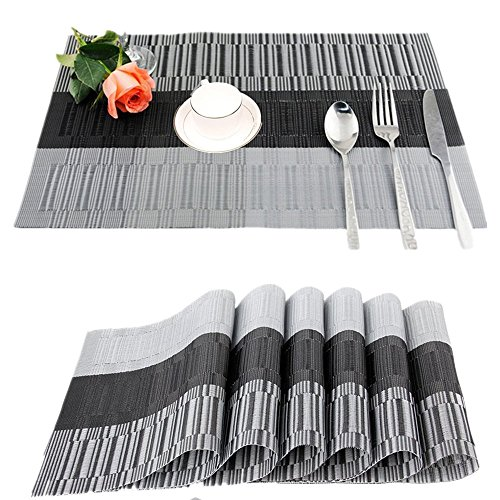 Fontic set of 6placemats 30 x 45 cm, non-slip, washable, PVC table mats, tear-proof, heat resistant, dirt repellent and washable place mats for kitchen, dining table black / grey