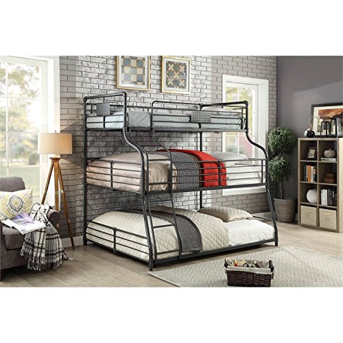 Furniture of America Maggie Black Metal Twin/Full/Queen Triple Bunk Bed