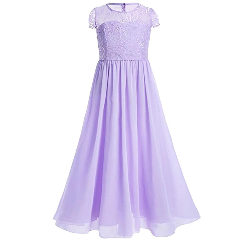 ZAH 子供服 ドレス ガールズワンピース フォーマルドレス キッズ 女の子 お嬢様 リボン付き 可愛い 発表会 結婚式 演奏会 パーティー(Purple,9Y)