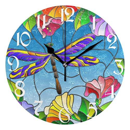 Jacque Dusk Reloj de Pared Moderno,Diente De León Libélula Loro Flores Girasoles,Grandes Decorativos Silencioso Reloj de Cuarzo de Redondo No-Ticking para Sala de Estar,25cm diámetro