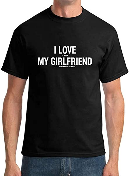 Joopee Men Fashion Short Sleeve Letter I Love My Girlfriend Loose Casual Show Your Love Blouse