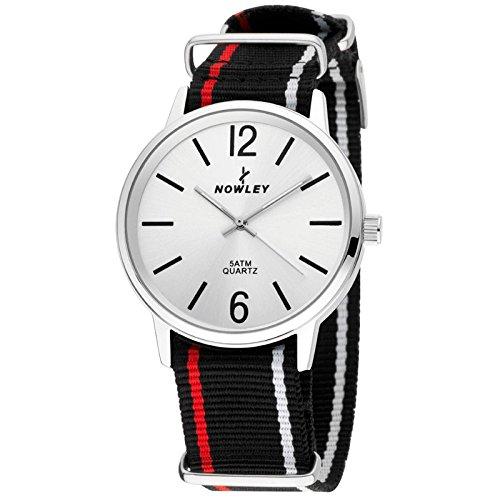 Reloj Nowley analógico, Correa Negra con Rayas en Blanco y Rojo y Esfera Plateada