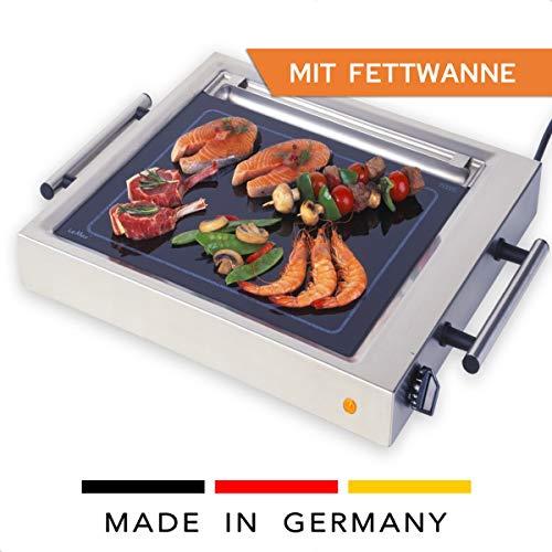 Elag LeMax Grill II met vetopvangbak, voor Teppanyaki en elektrische barbecue, gelijkmatige warmteverdeling, max. Piektemperatuur van 380 °C – traploze temperatuurregeling – Cooltouch handgrepen.