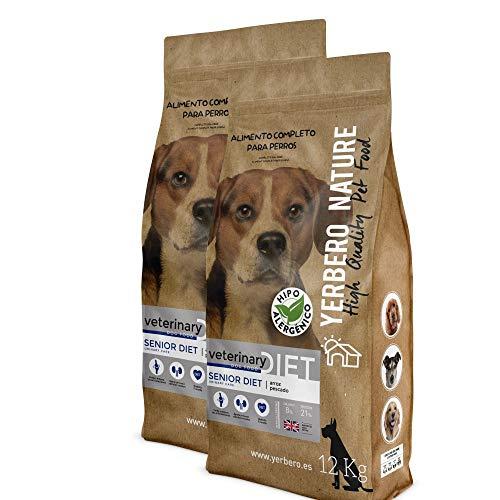 YERBERO Nature Senior Diet 2 uds de 12 kg de Comida Hipoalergénica para Perros Mayores.