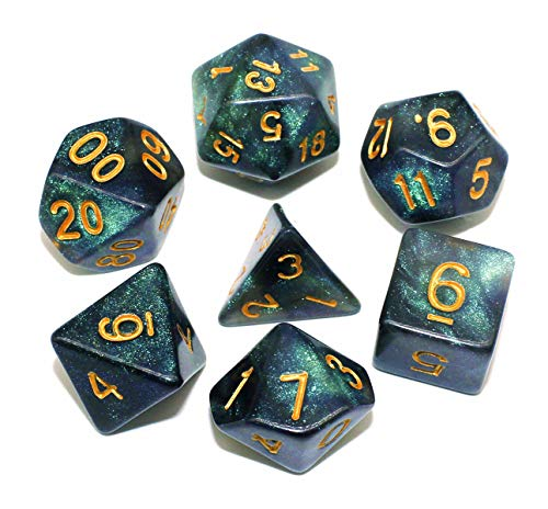 Dice DND Dice Set RPG Black Dice Fit Dungeons and Dragons D&D Pathfinder MTG Role Playing Games Glitter Polyhedral Dice with Dice Bag…