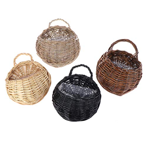 TUANTUAN 4 cestas de mimbre para flores, hechas a mano, de mimbre, de ratán, hechas a mano, para colgar en la pared, ideal para colgar en la pared, para colgar en la valla.