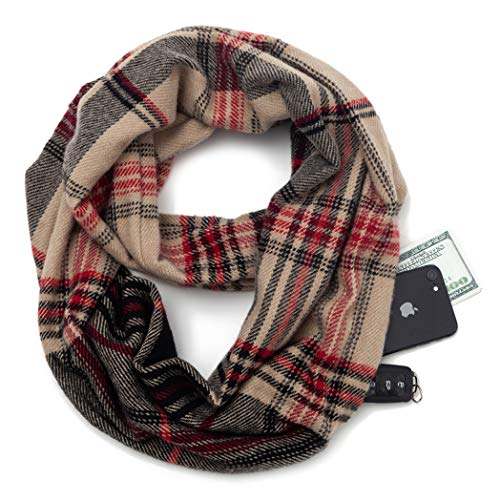 Travel Scarf Infinity Plaid Tartan women knitting Infinity Scarves with Hidden Zipper Pocket