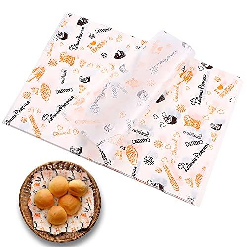 Lvjkes Papel para envolver alimentos, Papel encerado, 100 piezas de papel de envolver para hornear impermeable a prueba de aceite antiadherente respetuoso con el medio ambiente para pasteles y pan