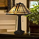 """Lavish Home A1000B1 Tiffany Style Table Lamp – Mission Design Art Glass Lighting 2 LED Bulbs Included-Vintage Look Handcrafted Accent Decor, (L) 14""""x (W) 14""""x (H) 24"""", Multi-Color"""