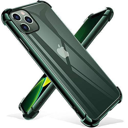 iPhone 11 Pro Hülle mit [2 Panzerglas Schutzfolie], Joyguard iPhone 11 Pro Handyhülle Silikon [Air Cushion] TPU Soft Premium Case Anti-Kratzer iPhone 11 Pro Hülle Silikon - Grün(5.8)