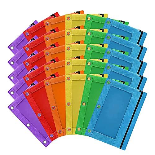 Creely Paquete de 30 bolsas para lápices con 3 agujeros y cremallera para bolígrafos, estuche de tela para oficina, universidad, suministros escolares cosméticos